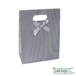 PP kadoverpakking met klittenbandsluiting zilver/grijs Klein