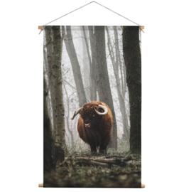 Textielposter Schotse Hooglander Mist