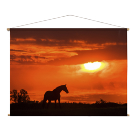 Textielposter Paard en Zonsondergang