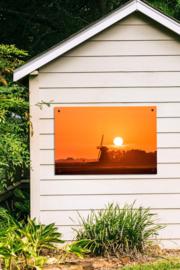 Tuinposter Molen Zonsondergang
