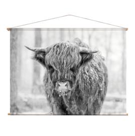 Textielposter Schotse Hooglander Jong ZW