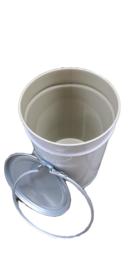 Metalen 60 liter wit conische coating