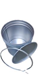 Metalen 70 liter grijs conische
