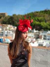 Fascinator Red Sinamay