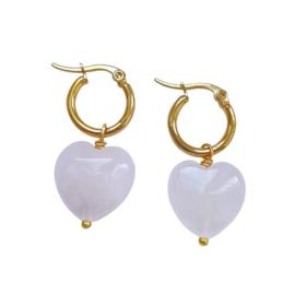 Rose Quartz Hearts Earrings