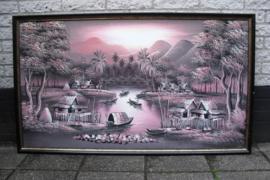 Olieverf op canvas schilderij van een Thais vissersdorp