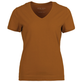 T-shirt V-hals Enjoy womenswear - COGNAC