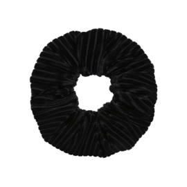 Scrunchie velvet stripes  - ZWART