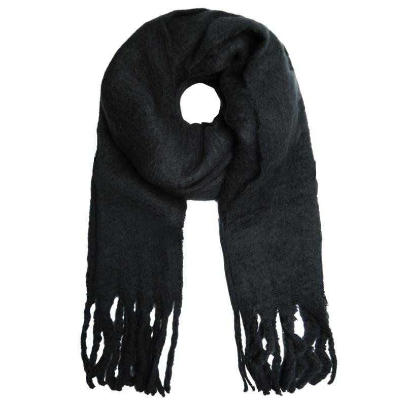 Solid sjaal - ZWART