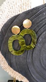 Boho oorbellen olijfgroen