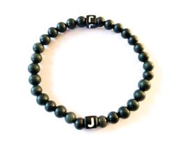 Matte black jade | double initial