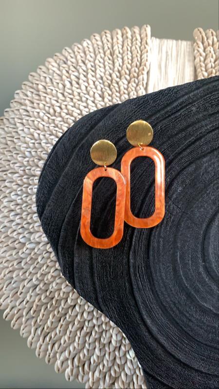Boho oorbellen oranje
