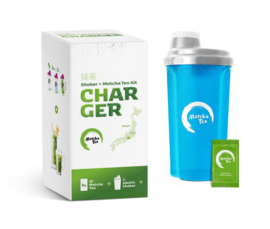 Bio matcha STARTERSPAKKET met aquablauwe shaker