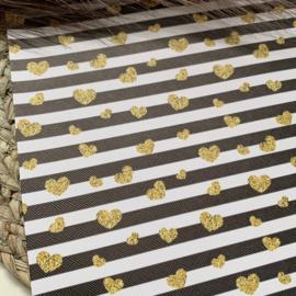 Gestreept gouden hartjes 34x20cm
