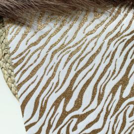 Zebra furry goud glitter A4