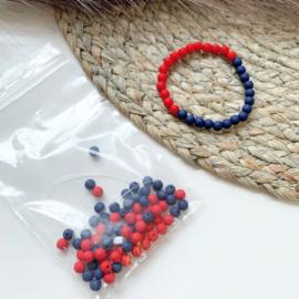 Armbandjes rood/blauw - 2 stuks