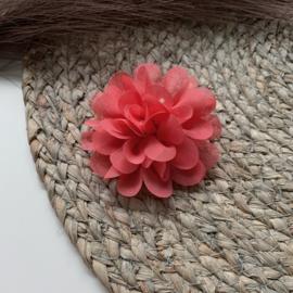 Chiffon bloem koraal 7cm