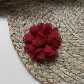 Chiffon bloem donker rood 7cm
