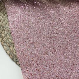 Grof glitter roze/zilver A4