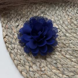 Chiffon bloem kobalt blauw 7cm