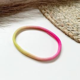 Roze/geel haarbandje smal