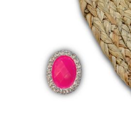 Ovaal neon roze 25x20mm