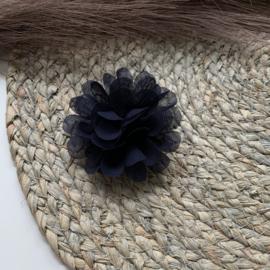 Chiffon bloem navy 7cm