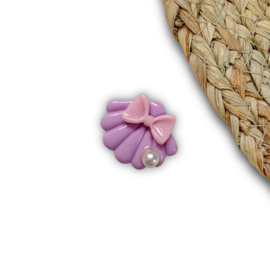 Schelp paars strikje 2,4x3cm