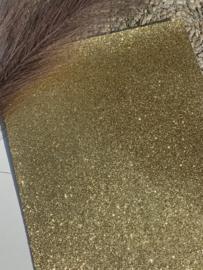 Fijn glitter donker goud A4