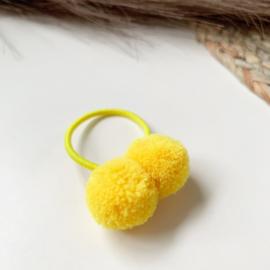 Haarelastiek pompom geel