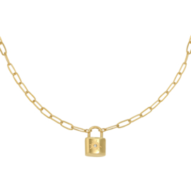 Schakelketting met slotje 'Little Lock' goud