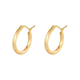 Gouden oorringen hoops 'Twisted' 22 mm