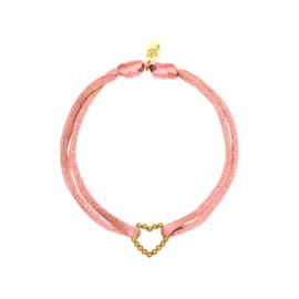 Satijnen armband met hart - Lichtroze