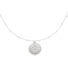 Zilveren ketting met hanger zon 'Sun Sign'