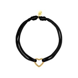 Satijnen armband met hart - zwart/goud