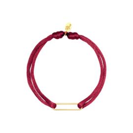 Satijnen armband met clip - rosé/goud