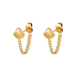 Gouden oorbellen met ketting en schelpje 'Yasmina'