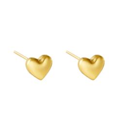 Oorknopjes met hart 'Love' goud