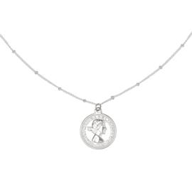 Zilveren ketting met munt 'Queen'
