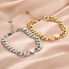 Schakelarmband met tussenstuk hart 'Chained Heart' goud