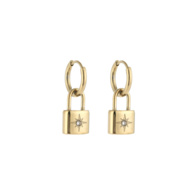 Gouden oorbellen met slotje 'Selena'