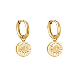 Gouden oorbellen met zon & maan 'Sunny'