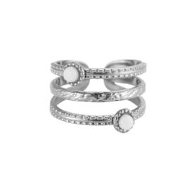 Ring met drie lagen 'Holly' zilver