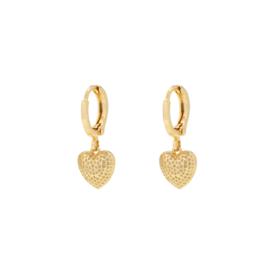 Oorbellen met hanger hartje 'Valentina' goud
