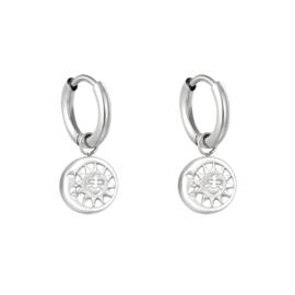 Zilveren oorbellen met zon & maan 'Sunny'