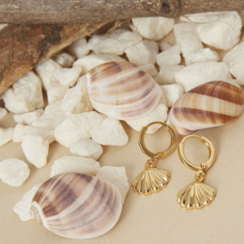 Oorbellen met hanger schelp 'Summer Vibes' goud