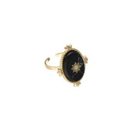 Statement ring 'Nora' zwart/goud