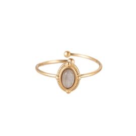 Ring met natuursteen 'Leah' goud