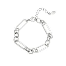Zilveren armband met grote schakels 'Funky Chain'