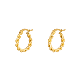 Gouden oorringen hoops 'Twine' 15 mm